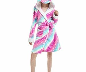 JLTPH Adulte Licorne Capuche Peignoir avec Capuchon Unisexe Flanelle Chemise de Nuit Animal Cosplay Cartoon Costume Homewear Pyjamas Bathrobe Nightgown -